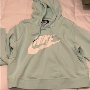 Teal Nike cropped hoodie